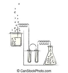 skizze, silhouette, prozess, verwischt, chemische , versuch, laboratorium