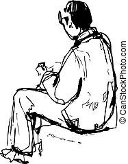skizze, sitzt, junger mann, hände