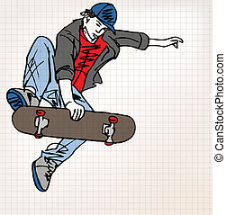 skizze, skater, abbildung