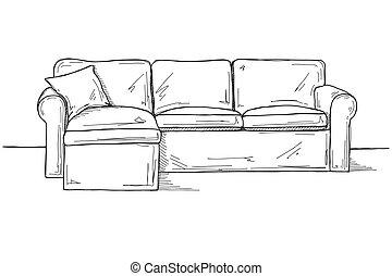 skizze, sofa, freigestellt, hintergrund., vektor, weißes