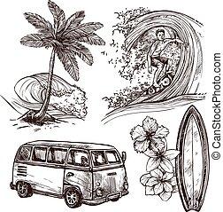 skizze, surfen, satz, ikone