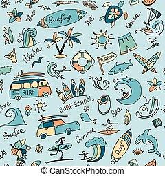 skizze, surfen, seamless, muster, design, dein