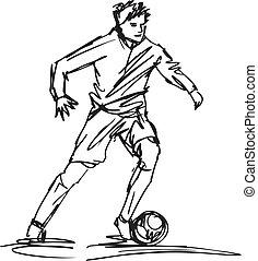 skizze, treten, abbildung, spieler, vektor, fußball, ball.