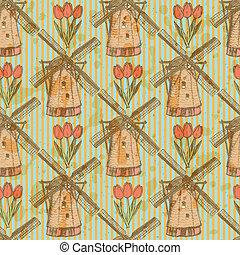 skizze, tulpenblüte, und, windmühle, vektor, seamless,...