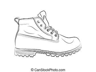 Skizze Schuhe Sport Hintergrund Vektor Weisses Illustration