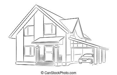 Skizze Von A Privat Haus