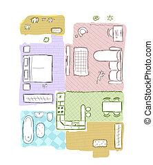 Badezimmer illustration bunte modern skizze hand for Wohnung inneneinrichtung design