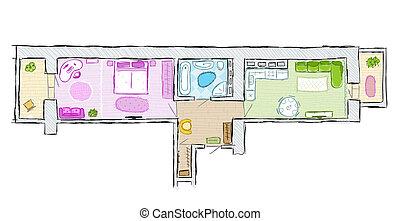 Badezimmer illustration modern skizze hand vektor for Wohnung inneneinrichtung design