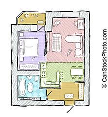 Skizze begriff gekritzel angehoben abbildung hand for Wohnung inneneinrichtung design