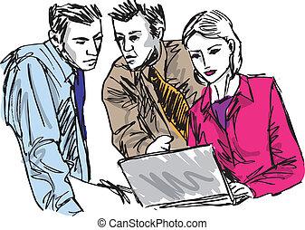 skizze, von, erfolgreich, geschäftsmenschen, arbeitende , mit, laptop, an, büro., vektor, abbildung