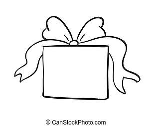 skizze, von, geschenkschachtel