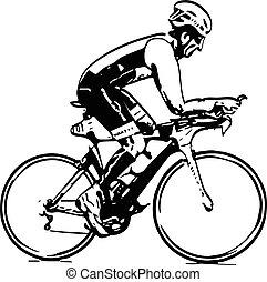 skizze, von, mann, fahrrad