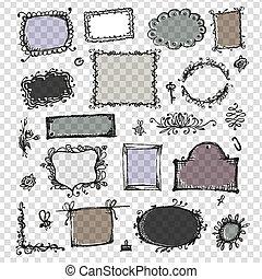 skizze, von, rahmen, hand, zeichnung, für, dein, design