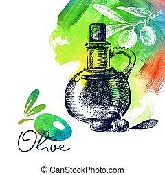 skizze, weinlese, abbildung, hand, hintergrund, olive, ...