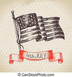 skizze, weinlese, hand, hintergrund., 4., design, gezeichnet, juli, amerika, tag, unabhängigkeit