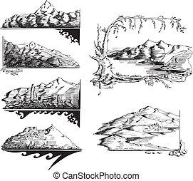 skizzen, berg