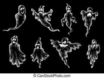 skizzen, geister, halloween, monster