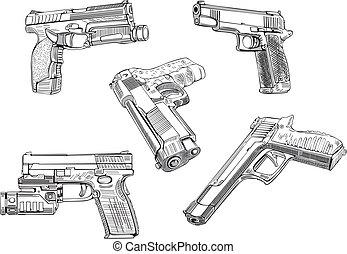 skizzen, gewehr