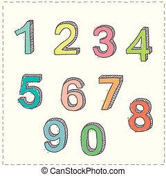 Skizzen, gezeichnet, satz, Zahlen,  Hand
