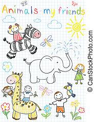 skizzen, kinder, vektor, tiere, glücklich