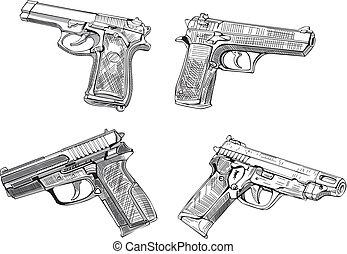 skizzen, pistole