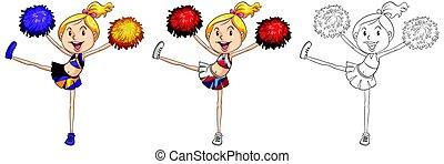 skizzen, reizend, drei, cheerleader