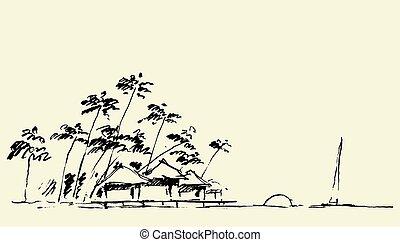 skizzen, strand, ansicht, sandstrand, vektor, skizze