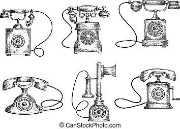 skizzen, telefone, wählscheibe, rotierend, kerzenleuchter