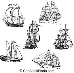 skizzen, von, segeln schiffen