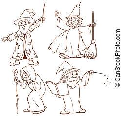 skizzen, zauberer