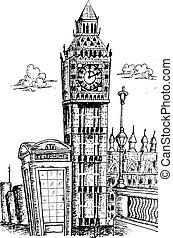 skizzieren, von, big ben, london