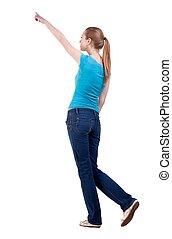 skjorta, synhåll, vandrande, baksida, jeans, kvinna pekande