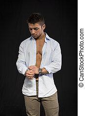 skjorta, torso, ung, muskulös, attraktiv, öppna, man