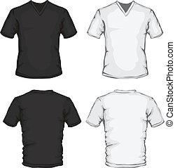 skjorte, v-neck, skabelon