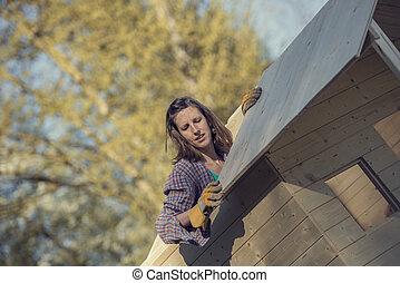 skjul, kvinna, trädgård, trä, tak, sätta, planka