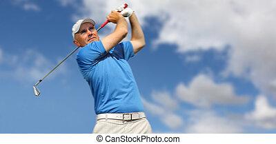 skjutning, golfspelare, golfboll