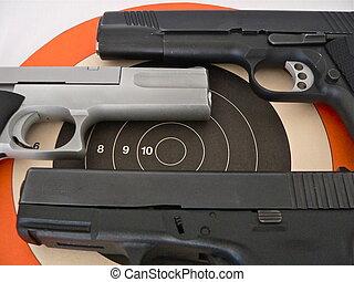 skjutvapen, &, måltavla