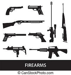 skjutvapen, vapen, och, vapen, ikonen, eps10