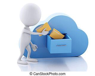 skládačka, počítací, concept., národ, cloud., běloba mračno, 3