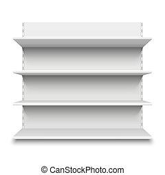 sklad, stavění knih, police, shelf., osamocený, supermarket, vektor, ilustrace, čistý, neposkvrněný, prodávat v malém, merchandise., neobsazený, stanoviště