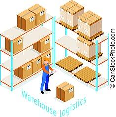 skladiště, logistika, isometric, design