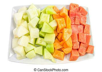 sklejony, melony, sześcian, honeydew