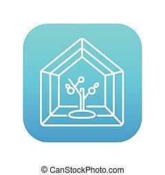skleník, řádka, icon.