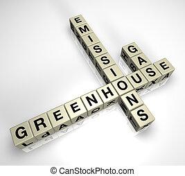 skleník gas, výtok, hádanka, 2