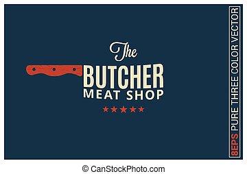 sklep, błękitny, mięso, rzeźnik, tło, logo