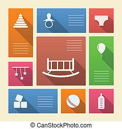 sklep, barwny, ikony, tekst, wektor, miejsce, niemowlę