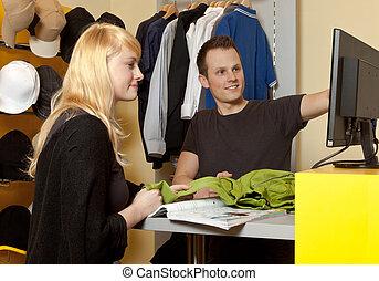 sklep, business:, kupujący, portret, asystent, mały