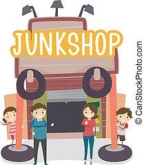 sklep, dżonka, stickman, rodzina handlowa, ilustracja