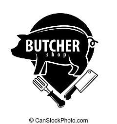 sklep, emblemat, nożownictwo, rzeźnik, świnia, czarnoskóry