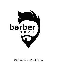 sklep, fryzura, wektor, fryzjer, szablon, logo, element.